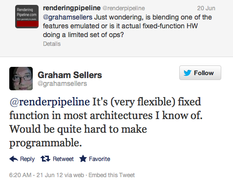 &quot;It's (very flexible) fixed function in most architectures I know of. Would be quite hard to make programmable.&quot;